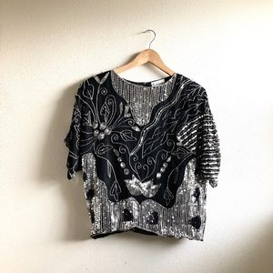 Vintage 80's sequined blouse black silk silver-s